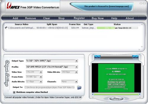 Free 3GP Video Converter 3.2.2.57 - Descargar 3.2.2.57