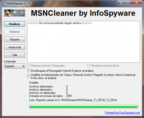 MSNCleaner 1.7.5 - Descargar 1.7.5