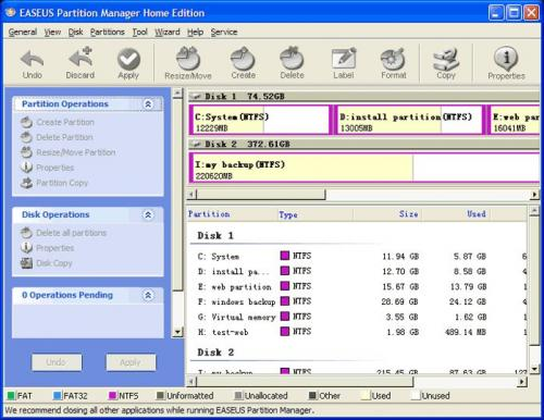 EASEUS Partition Master Home Edition  3.5