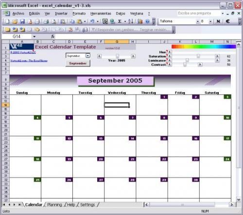 Excel Calendar Template 1.3.2 - Descargar 1.3.2